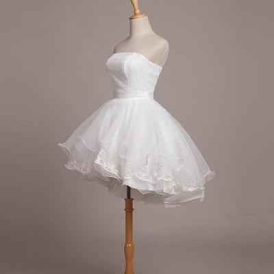 ホワイト 白いドレス ウエディングドレス 結婚式 2次会 花嫁 二次会ドレス エンパイア フォーマルドレス ショートドレス ミニドレス ウェディングドレス 格安