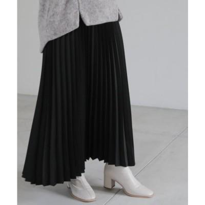 レイカズン Ray Cassin エンボスレザーサテンスカート (黒)