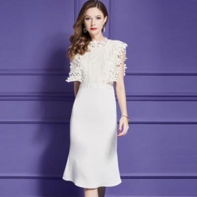 結婚式 パーティードレス 袖あり 大きいサイズ 結婚式のドレス 結婚式のお呼ばれ30代 パーティードレス レース ノースリーブパーティード