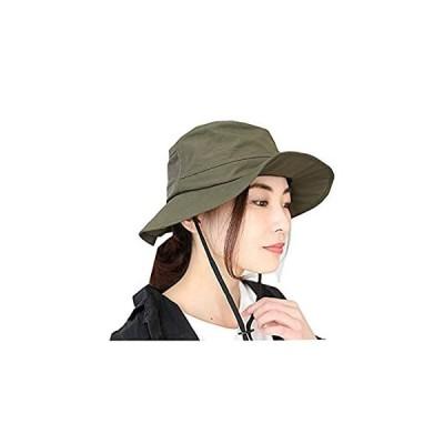 [ドリームハッツ] 帽子 撥水 サファリハット レディース 折りたたみ uvカット帽子 100% 大きいサイズ Lサイズ (60cm)カーキ