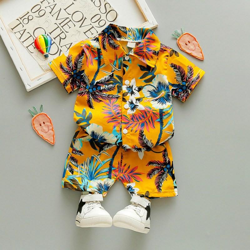 熱銷男童時尚印花襯衣+短褲 套裝 男孩夏季新款短袖T卹 帥氣兩件套裝【IU貝嬰屋】