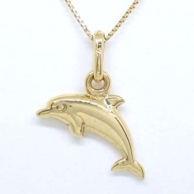 K18  ゴールド 750  ウノアエレ  ペンダント付ネックレス イルカ型 美品