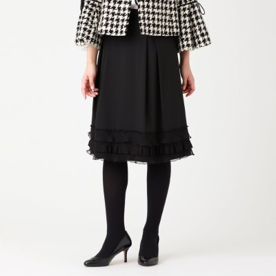 トゥー ビー シック TO BE CHIC ポリエステルレーヨングログランスカート (ブラック)