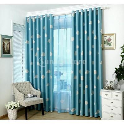 ホーム インテリア 雲パターン ウィンドウ ブロックアウト カーテン パネル 雰囲気 ロマンチック ブルー 100x250cm
