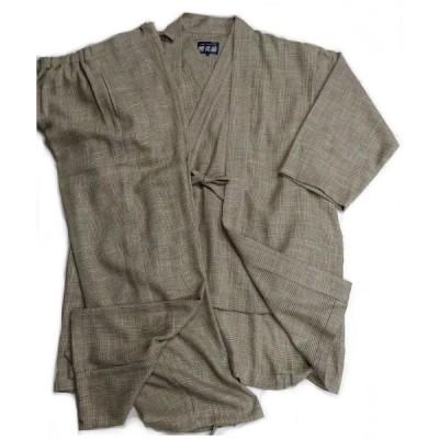 羅織作務衣・陣羽織セット(生成緑) 日本製