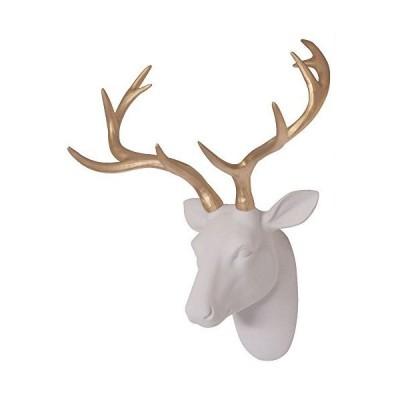 Smarten Arts 人工鹿の頭 壁装飾 ホワイトフェイクファー フェルト/ベルベット製 樹脂鹿の頭 ゴールドの角付き 自宅/バー/オフィス用 サ