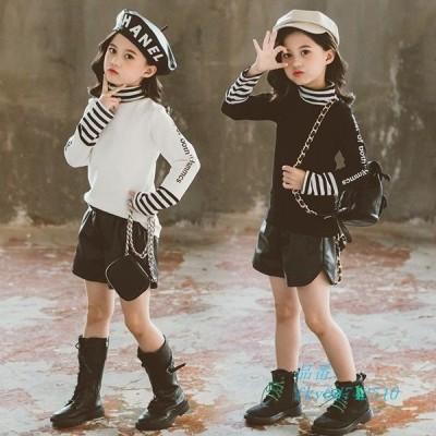 子供服 キッズ ストライプ Tシャツ 春秋 ショートパンツ 上下セット 可愛い 新品 おしゃれ セットアップ トップス 150cm 長袖 2点セット ジュニア 女の子