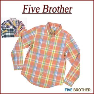 FIVE BROTHER ファイブブラザー 長袖 マドラスチェック ボタンダウンシャツ 1515007