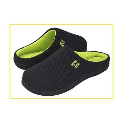新品RockDove Men's Original Two-Tone Memory Foam Slipper, Size 10.5 US Men, Black/Lime並行輸入品