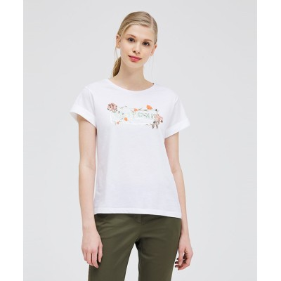 【シスレー】 コットンプリント袖ダブル半袖Tシャツ・カットソー レディース ホワイト系 M(国内L相当) SISLEY