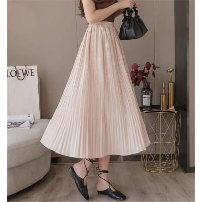品質改善!高品質新入庫!韓国ファッション 2020年春 夏 新スタイル スカート ゆったりする エレガント 外国風 ビッグスイングスカート 中・長セクション 百掛け プリーツスカート