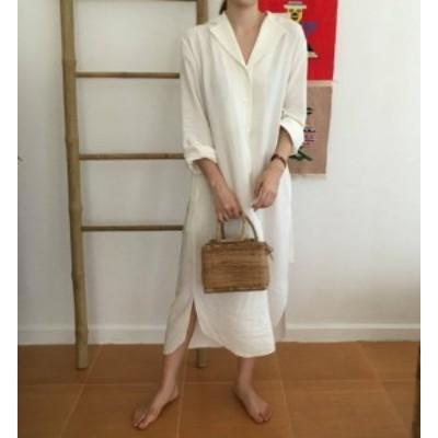 シャツワンピース ロング 大きいサイズ 長袖 ワンピース ロングシャツワンピース 白シャツ 紫外線対策レディース チュニック 体型カバー
