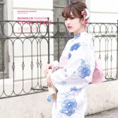 浴衣セット レディース レトロ 浴衣セット 大人 3点セット 白系 ホワイト 青 ピンク 椿 桜 綿 ラメ 半幅帯 女性 ボヌールセゾン S フリー