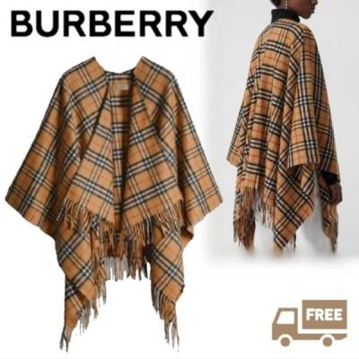 バーバリー Burberry ヴィンテージチェックウールカシミヤポンチョ 135cm×140cm 50%カシミヤ50%メリノウール Burberry40734951