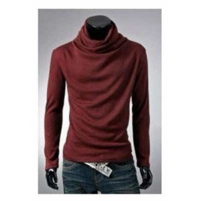 LAZA ワインレッド アフガン タートルネック 長袖 Tシャツ カジュアル メンズ レディース シンプル 大きいサイズ