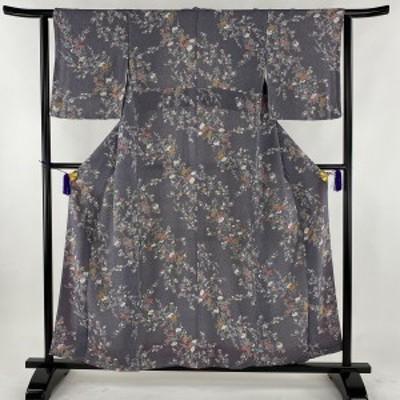 小紋 美品 秀品 草花 縮緬 紫 袷 身丈158cm 裄丈61.5cm S 正絹 中古