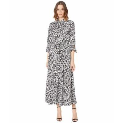 カルバンクライン レディース ワンピース トップス Long Sleeve Floral Print Shirtdress Maxi Black/Cream