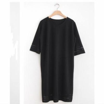 ゆったり ワンピース ブラック トレンド オシャレ 休日 オーバーサイズ 可愛い Uネック 袖コンシャス w146