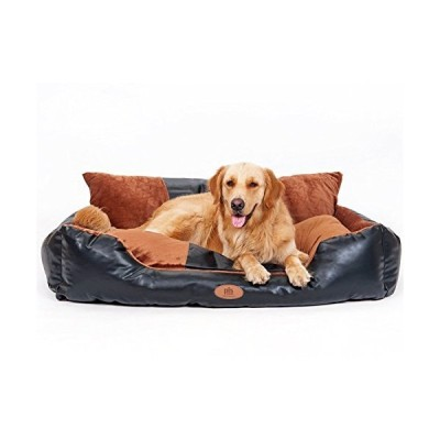 [Overstock Sale] PLS Deluxe Lounger Faux Leather Bolster Pet Bed (Giant, 47Wx60L), Dog Bed for Large Dogs, Faux Leather and Brown Suede Fabr