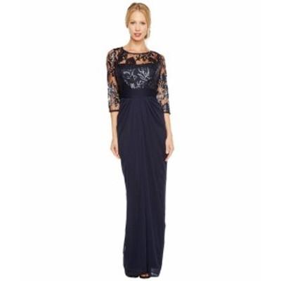 アドリアナパペル レディース ドレス Embroidered Sequin Bodice Drape Gown