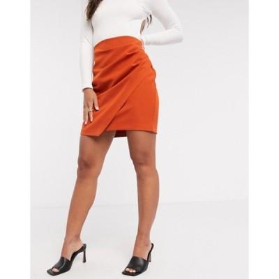 ベスパー レディース スカート ボトムス Vesper midi skirt with symmetric hem and side ruching in cinnamon