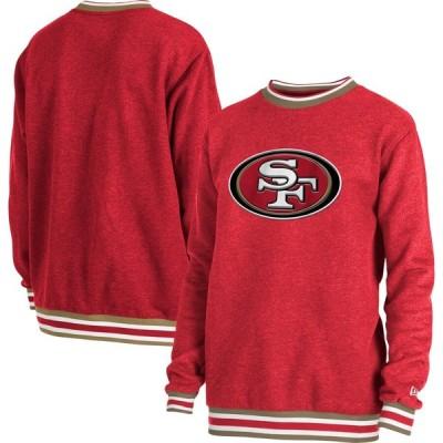 サンフランシスコ・49ers New Era Brushed Ringer Fleece Pullover スウェットシャツ - Heathered Scarlet
