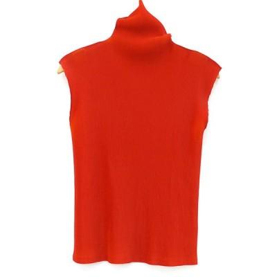 イッセイミヤケ ISSEY MIYAKE プリーツプリーズ ノースリーブトップス ポリエステル100% レッド 表記サイズ3 赤 ファッション ブランドアイテム 【mi】【中古】