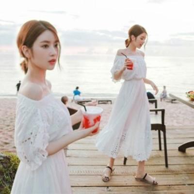 40代のファッションレディース ワンピース ロング韓国 ファッション レディース ワンピース オフショルダー ロングワンピ リゾート レー