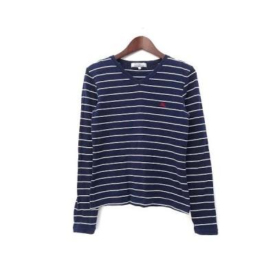 【中古】バーバリーブルーレーベル BURBERRY BLUE LABEL Tシャツ M 紺 ネイビー コットン 長袖 ロゴ 刺繍 ボーダー Vネック レディース 【ベクトル 古着】
