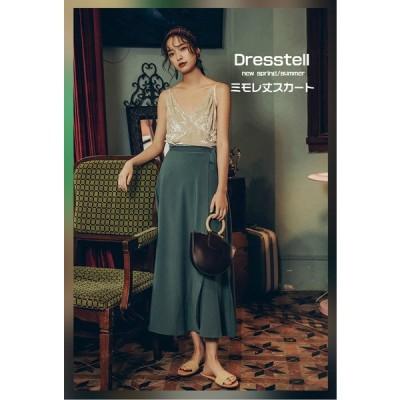 Dresstell スカート ラップスカート フレア レディース ベルト付き  ロング  ハイウェスト スリット Aライン