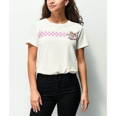 デザートドリーマー DESERT DREAMER レディース Tシャツ トップス Powerpuff Checkered Off-White Pigment Dyed T-Shirt White