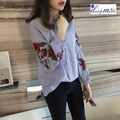 刺繍ブラウス 袖にバラの刺繍 長袖シャツブラウス 刺繍ブラウス 刺繍シャツ 花柄ブラウス 花柄シャツ ストライプシャツ 花柄シャツ