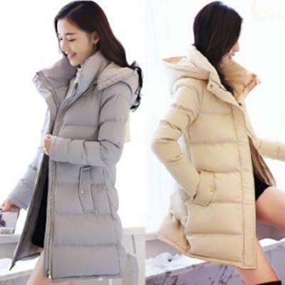 冬アウター  ダウンコート 中綿 ダウンジャケット レディース ロング丈 40代 カジュアル フード付 Aライン あったか 防風防寒
