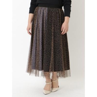 【大きいサイズ】チュール切替スカート 大きいサイズ スカート レディース