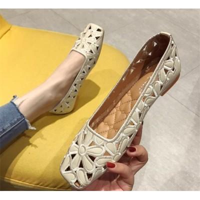 💙本日限定!秋先取りセール!💙韓国ファッション 2020夏 ニュースタイル 上品映え サンダル 大人気 ホロー ソフトボトム 豆靴 シンプル ローファー スクエアトゥ 百掛け 大きいサイズ 婦人靴