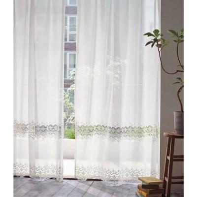 ボイルカーテン(透かし柄がアクセントのトルコ刺繍)/ホワイト/幅200×丈98cm(1枚物)