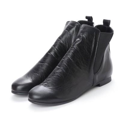 ユリコ マツモト yuriko matsumoto 春ブーツ ショートブーツ フラット 両ゴム 本革 日本製 (BL)