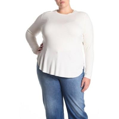 ハロゲン レディース Tシャツ トップス Long Sleeve Shirttail Hem T-shirt WHITE