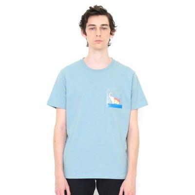 tシャツ Tシャツ クリアポケットTシャツ(ベイシングエレファント)(ライトブルー)