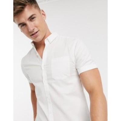 ニュールック メンズ シャツ トップス New Look short sleeve organic cotton oxford shirt in white White