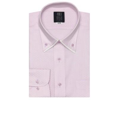 ワイシャツ 長袖 形態安定 ボタンダウン ダブルカラー 白×ピンクストライプ、市松格子織柄 標準体