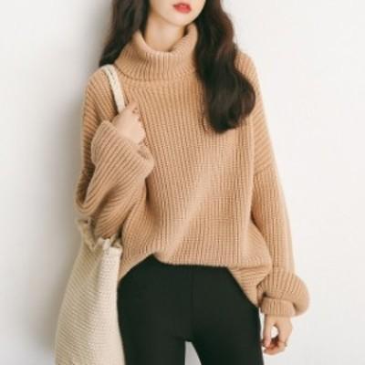 おすすめ 冬物 ニットセーター 畦編み タートルネック ラグランスリーブ ゆったり ざっくり トレンド デート 通勤 通学 レディース