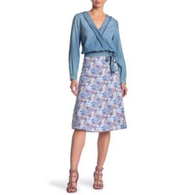グッドラックジェム レディース スカート ボトムス Printed Side Button Midi Skirt BLUE ORANGE FLORAL