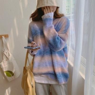 原宿系ニット レディース 秋冬 トップス セーター シャギーニット 長袖 ゆったり 大きめサイズ  シャギーミックスニットプルオーバー