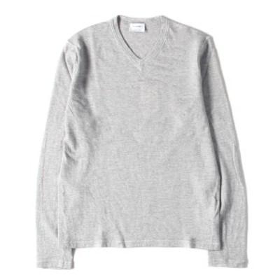 JIL SANDER ジル・サンダー セーター ハイゲージ Vネック ニット セーター グレー 46 【メンズ】【中古】【美品】【K2631】