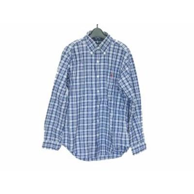 ラルフローレン RalphLauren 長袖シャツ サイズ39-82 メンズ - ネイビー×白 チェック柄【中古】20200517
