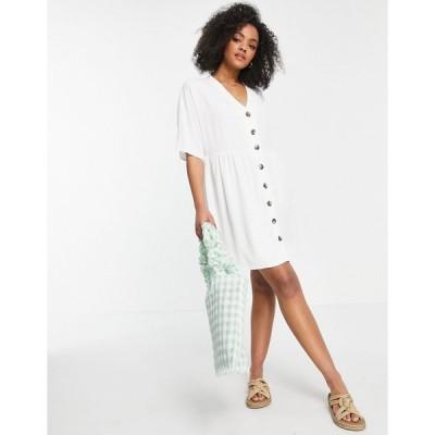 エイソス ミディドレス レディース ASOS DESIGN v neck button through mini smock dress in white エイソス ASOS ホワイト 白