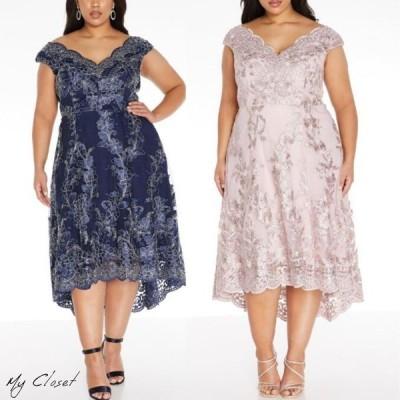 ワンピース ドレス クイズ QIZU 大きいサイズ ミディ丈 刺繍 ディップヘム イギリス インポート