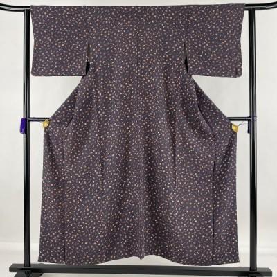 小紋 優品 和楽器 桜 縮緬 灰紫 袷 身丈153cm 裄丈62cm S 正絹 中古