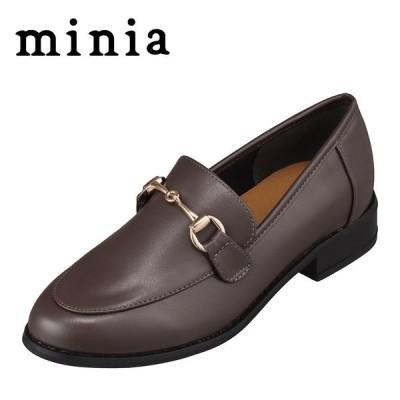 ミニア minia AS-1005 レディース | ローファー | ビット 金具 | マニッシュ | 定番 デザイン | ブラウン
